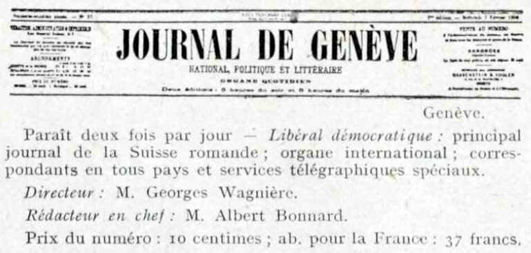 Le journal de Genève