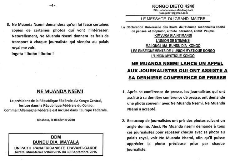NE MUANDA NSEMI LANCE UN APPEL AUX DERNIERS JOURNALISTES QUI ONT ASSISTE A SA DERNIERE CONFERENCE DE PRESSE a