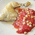 Cuisse de poulet aux tomates et pois-chiches au cumin