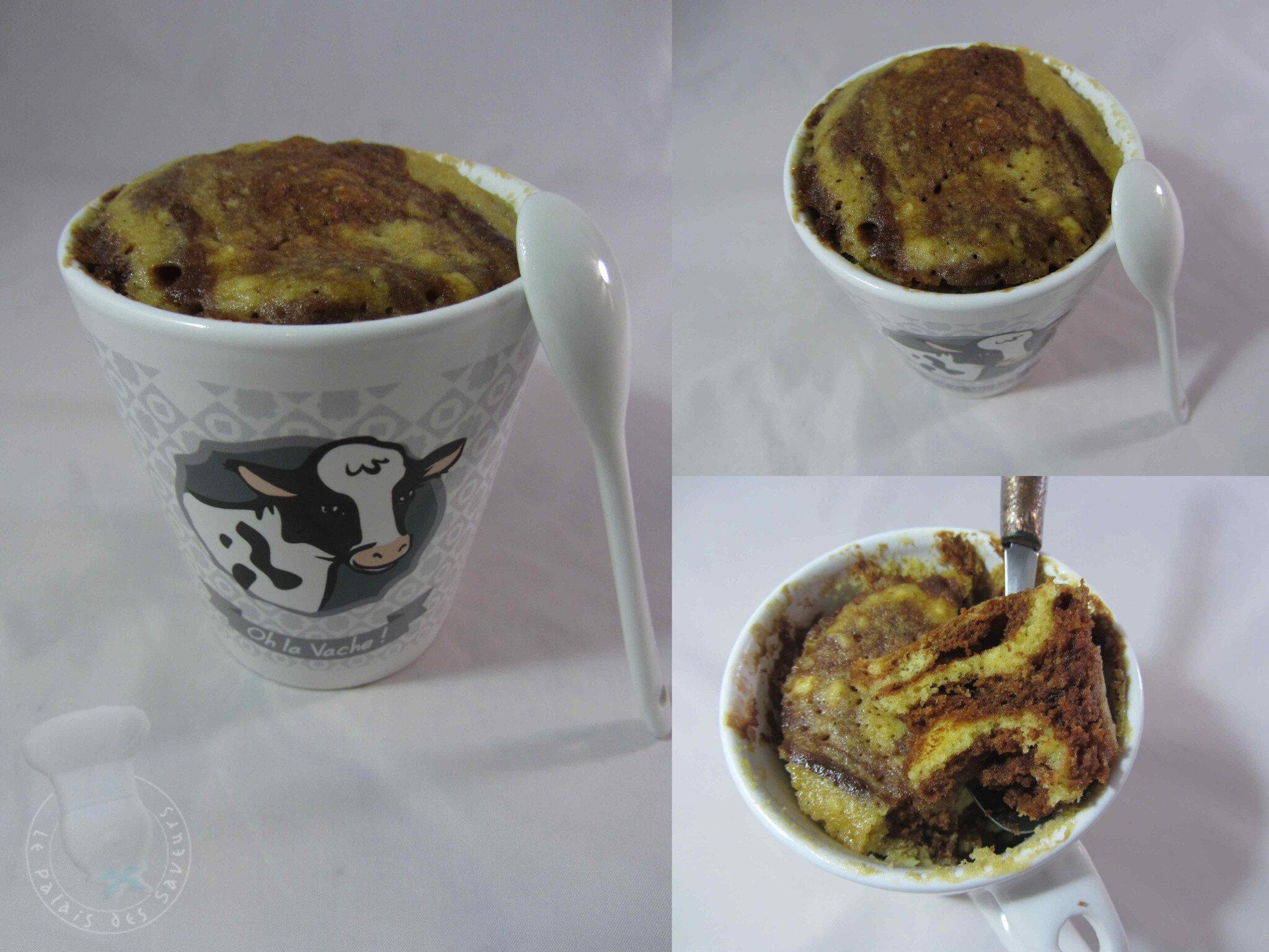 Mug cake marbré chocolat café