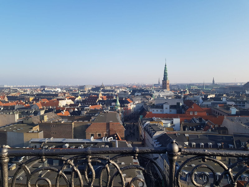 At the top of the Round Tower: over the rooftops of Copenhagen