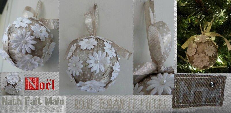 Boule Noël ruban beige fleurs papier (0)