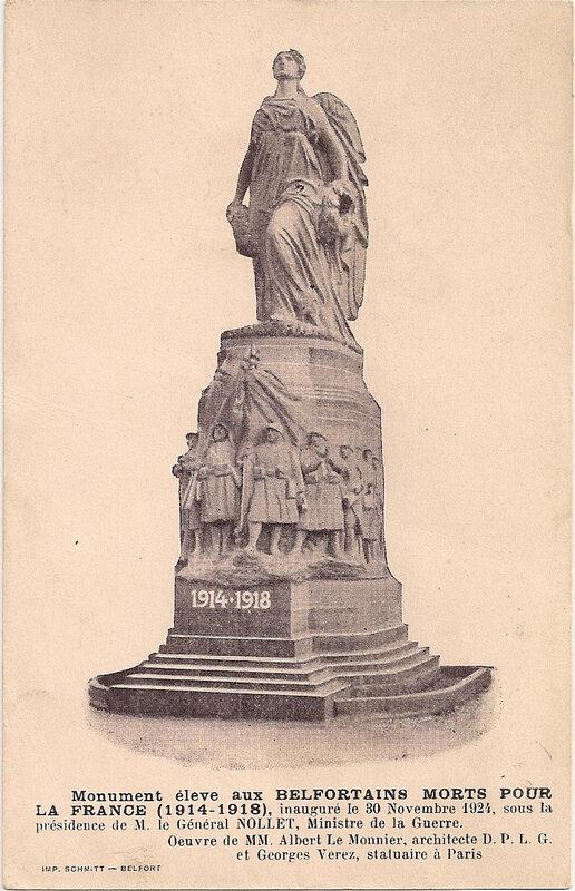 Belfort CPA Monument aux morts Albert Le Monnier