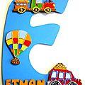 Plaque de porte lettre initiale prénom thème voyage
