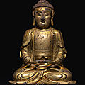 A gilt-bronze figure of amitabha, ming dynasty, 16th-17th century