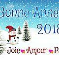Bonne année 2018 à toutes et tous.