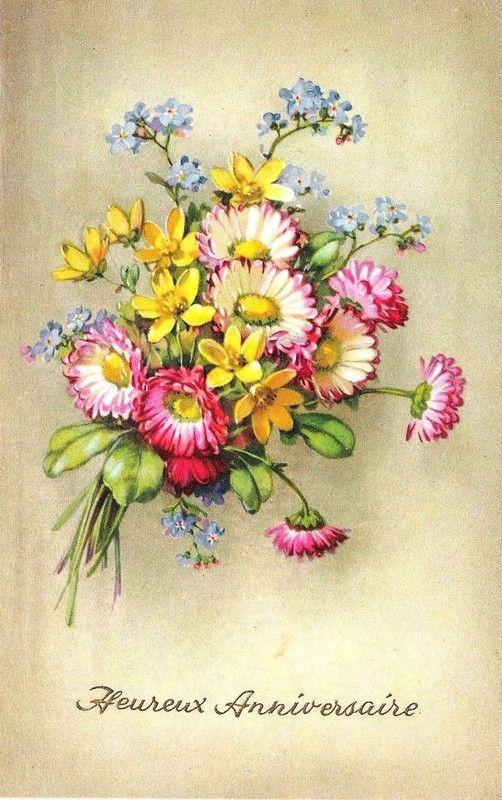 Carte heureux anniversaire fleurs
