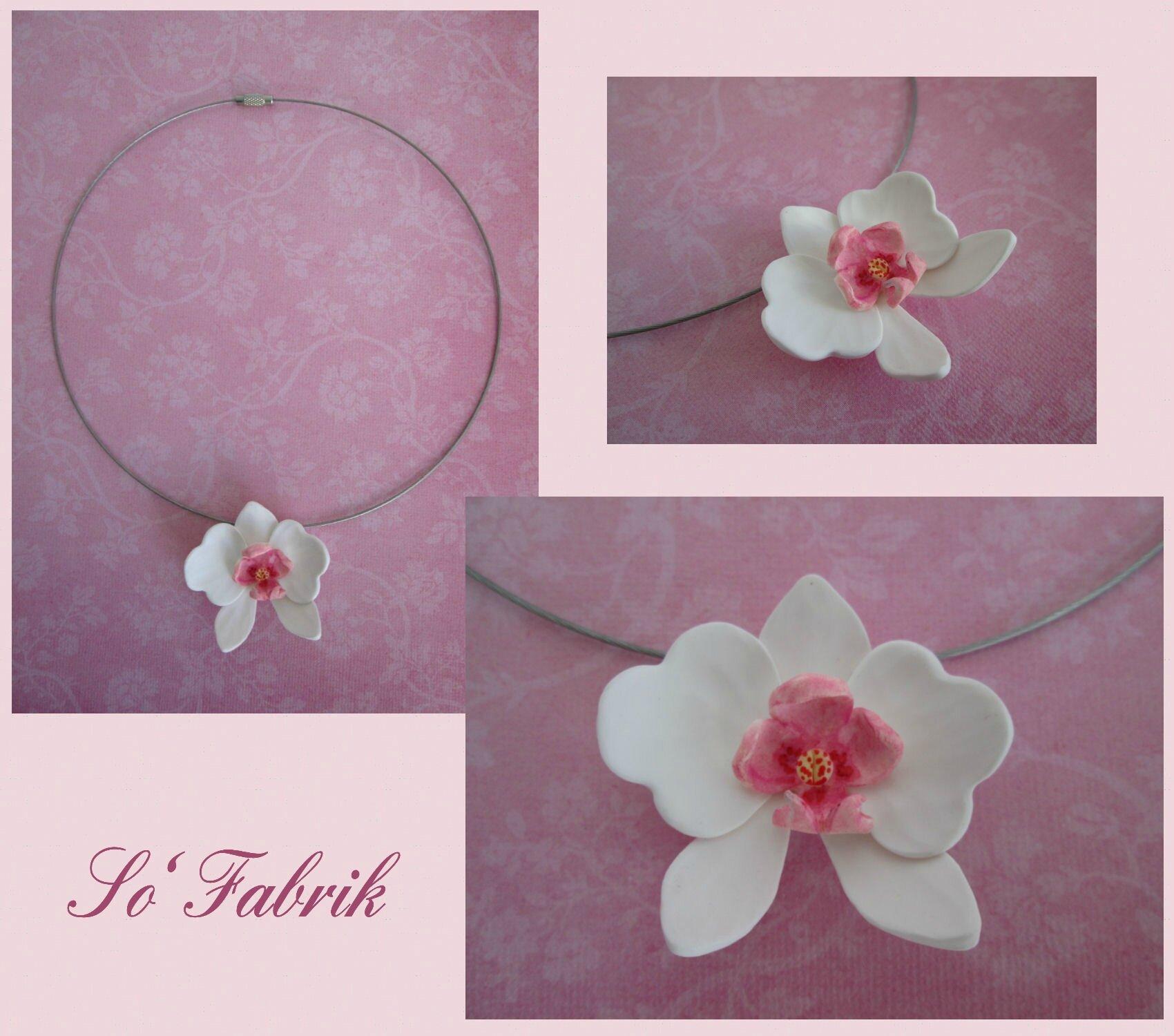 Tour de cou câblé Orchidée blanche et rose