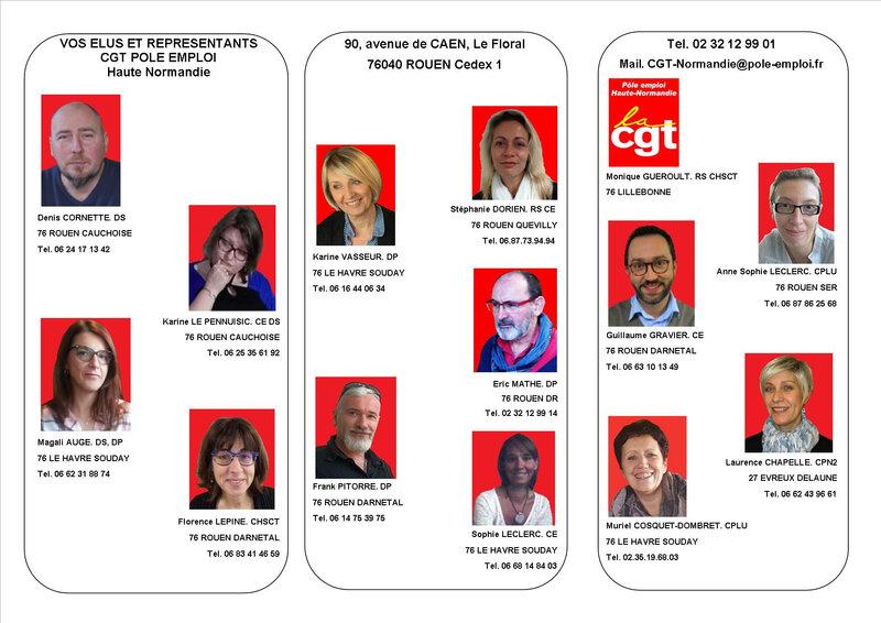Trombi Elus et Mandatés CGT Pôle emploi
