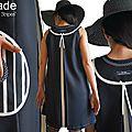 MOD 384B Robe Trapèze Graphique Noir blanc esprit année 70 créateur Couture