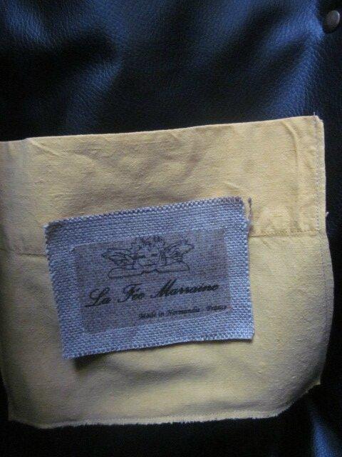 Sac FELICIE n°26 en drap ancien teinté jaune et simili cuir noir