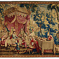 A louis xiv beauvais 'chinoiserie' tapestry depicting 'la collation', circa 1700-1729
