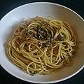 Spaghetti aux câpres et aux anchois...(sans chapelure)