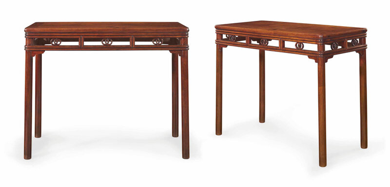 A pair of huanghuali rectangular side tables, banzhuo, 17th century