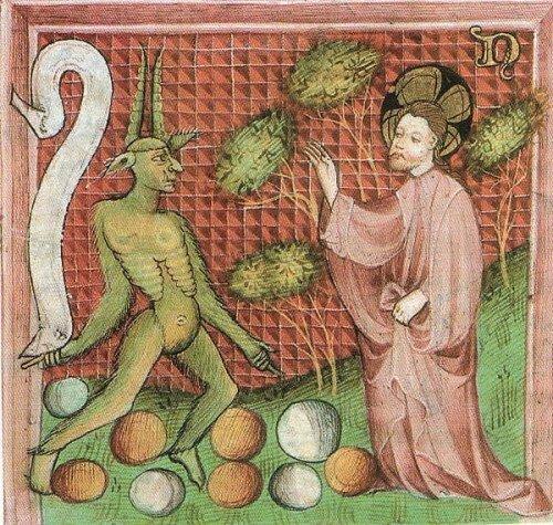 Jesus-Christ et le diable, manuscrit allemand XVe s