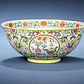 Two famille rose yellow-ground bowl. jiaqing seal mark and of the period