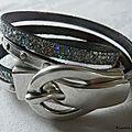 Bracelet double ceinture de cuir (argent)