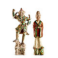 Two sancai pottery figures of an official and a Lokapala, Tang dynasty
