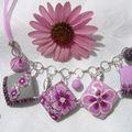 collier lentilles carrées gris et rose 25€