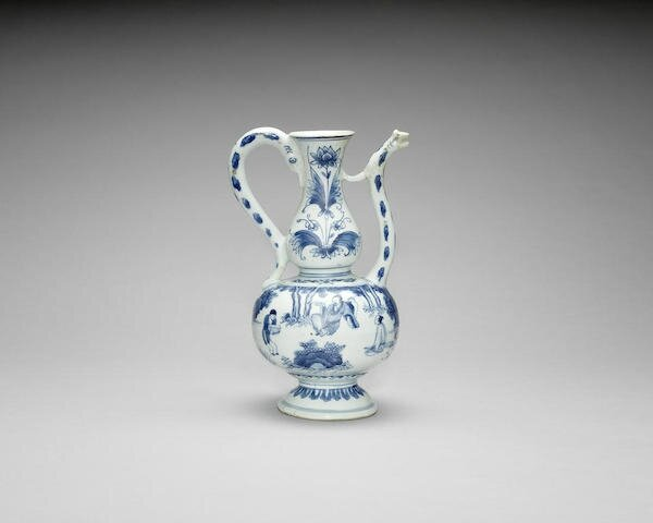 An unusual blue and white double-gourd ewer, Chongzhen period (1627-1644)
