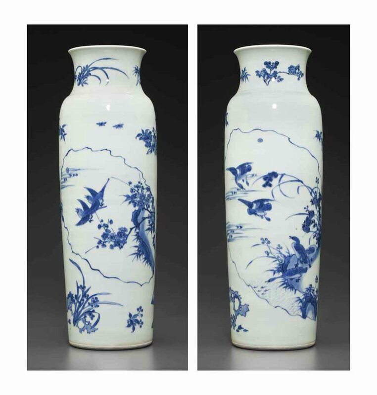 A large blue and white sleeve vase, Transitional period, circa 1640-1650
