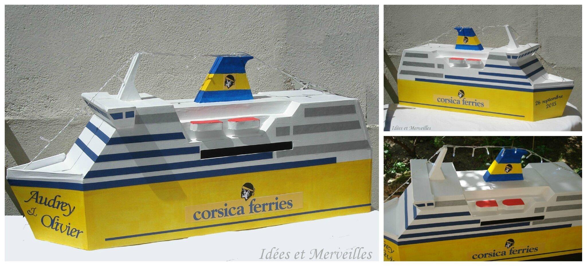 Une urne de mariage thème Corsica Ferries