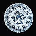 Large plate with blue-and-white decoration of grapevine and flowers, Ming dynasty, Yongle period (1402–24)