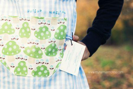 Brodi-Broda-tablier-de-petit-cuisinier-en-tissu-lavable-vichy-bleu-avec-champignons-fait-main-création-textile