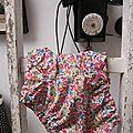 Culotte BIANCA en coton fleuri bleu vert orange et fushia - noeud de velours rose buvard (3)