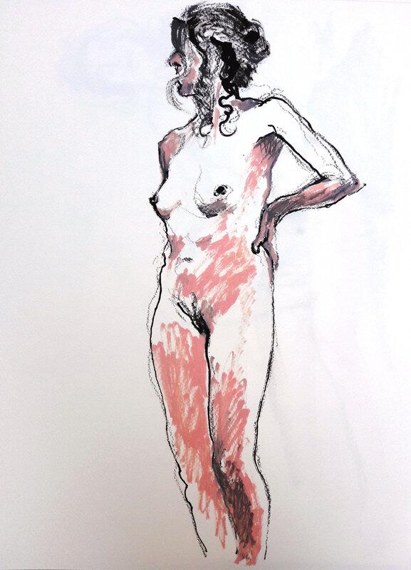 Alain Montoir Euzet nu aquarelle 40 x 30 (7)