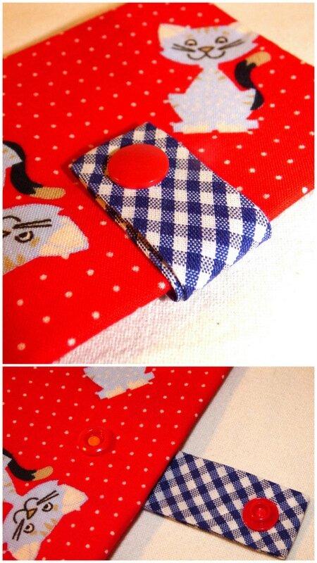 pochettes à barrettes rouge chats2