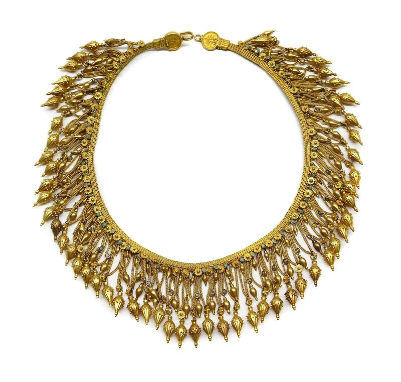 d5ce0ae693 Courtesy S. J. Phillips Ltd. 37711. Antique gold fringe necklace by  Castellani, Italian c.1860 inspired by the