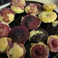Essais de bouchées à l'amande et framboise (et chocolat)