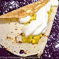Crêpes aux fruits exotiques, chocolat blanc et cardamome