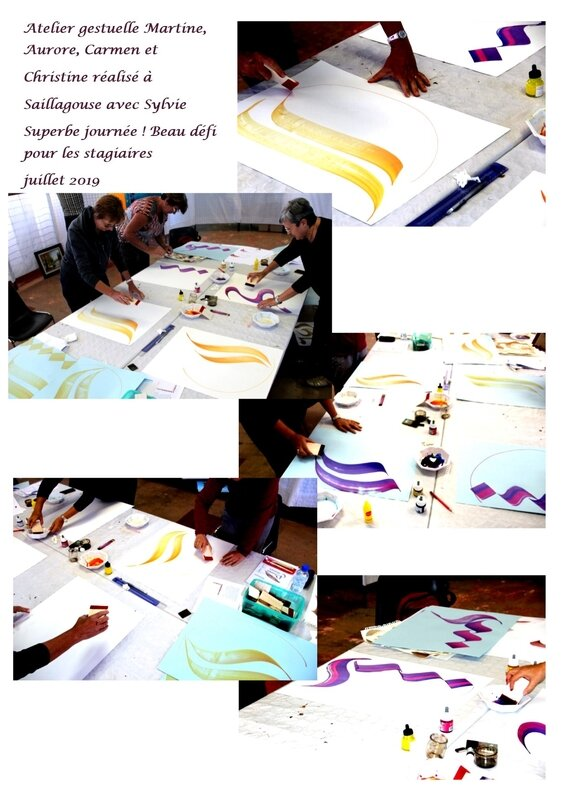 atelier gestuelle Aurore, Christine, Martine et Carmen
