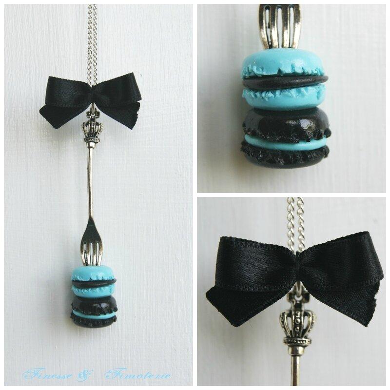collier fourchette duo macaron noir bleu