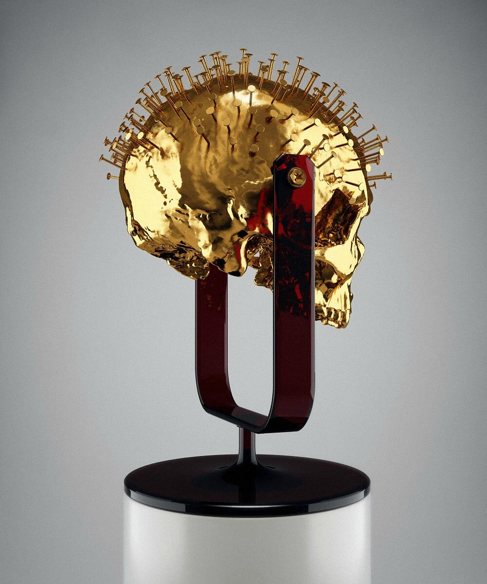Hedi Xandt, The Longer You Last, 2013 gold-plated cast of an 18th century skull with inserted nails, custom-made black-red perspex fixture. © 2014 Hedi Xandt