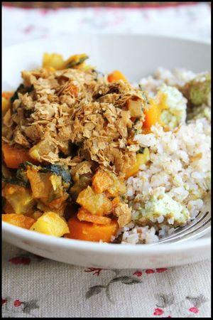 légumes d'automne au boulgour de sarrasin et tofu fumé
