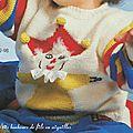Pull enfant avec motif clown pour aller au cirque, (explication du modèle en taille 18 mois)