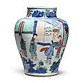 A wucai 'figural' jar, qing dynasty, shunzhi-kangxi period (1644-1722)
