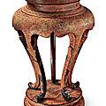 A rare 'tianqi' and 'qiangjin' lacquer 'dragon' incense stand (xiangji), 17th century