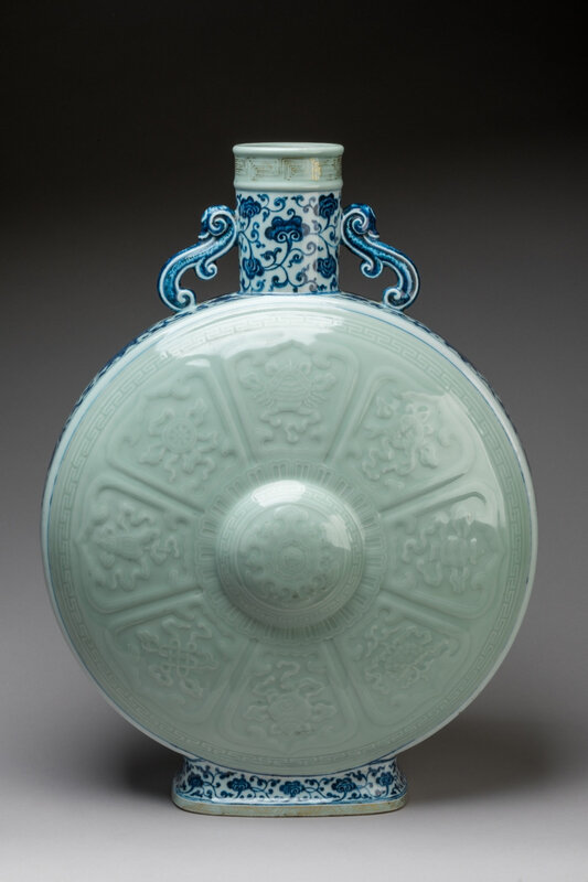 A rare blue and white and celadon porcelain Baoyueping moonflask, Qianlong six-character seal mark in zhuanshu script on the base