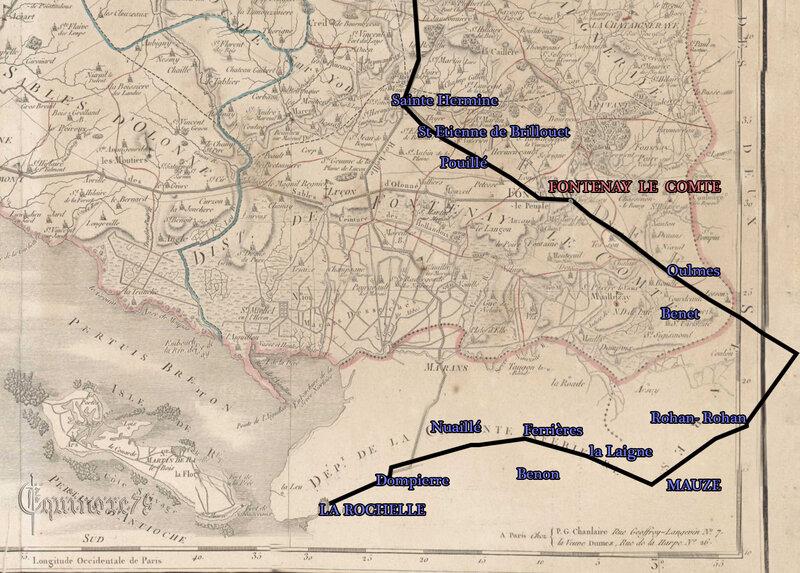Carte 2 Itinéraire de Napoléon 1er accompagné de l'impératrice Joséphine en Vendée