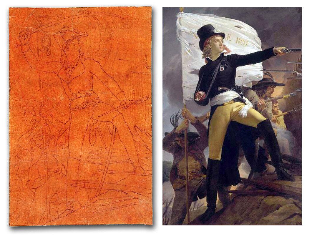 Une esquisse du portrait d'Henri de La Rochejaquelein