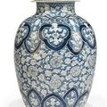 A chinese blue and white baluster vase and cover. qing dynasty (1644-1911)