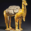 An unusual amber-glazed pottery figure of a bactrian camel, sui dynasty (ad 581-618)