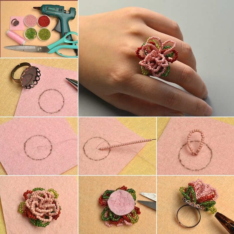 1080-Pandahall-Original-Project-How-to-Make-Flower-Seed-Beads-Ring-in-Two-Steps