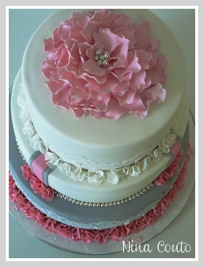 wedding cake gris rose blanc Nimes4