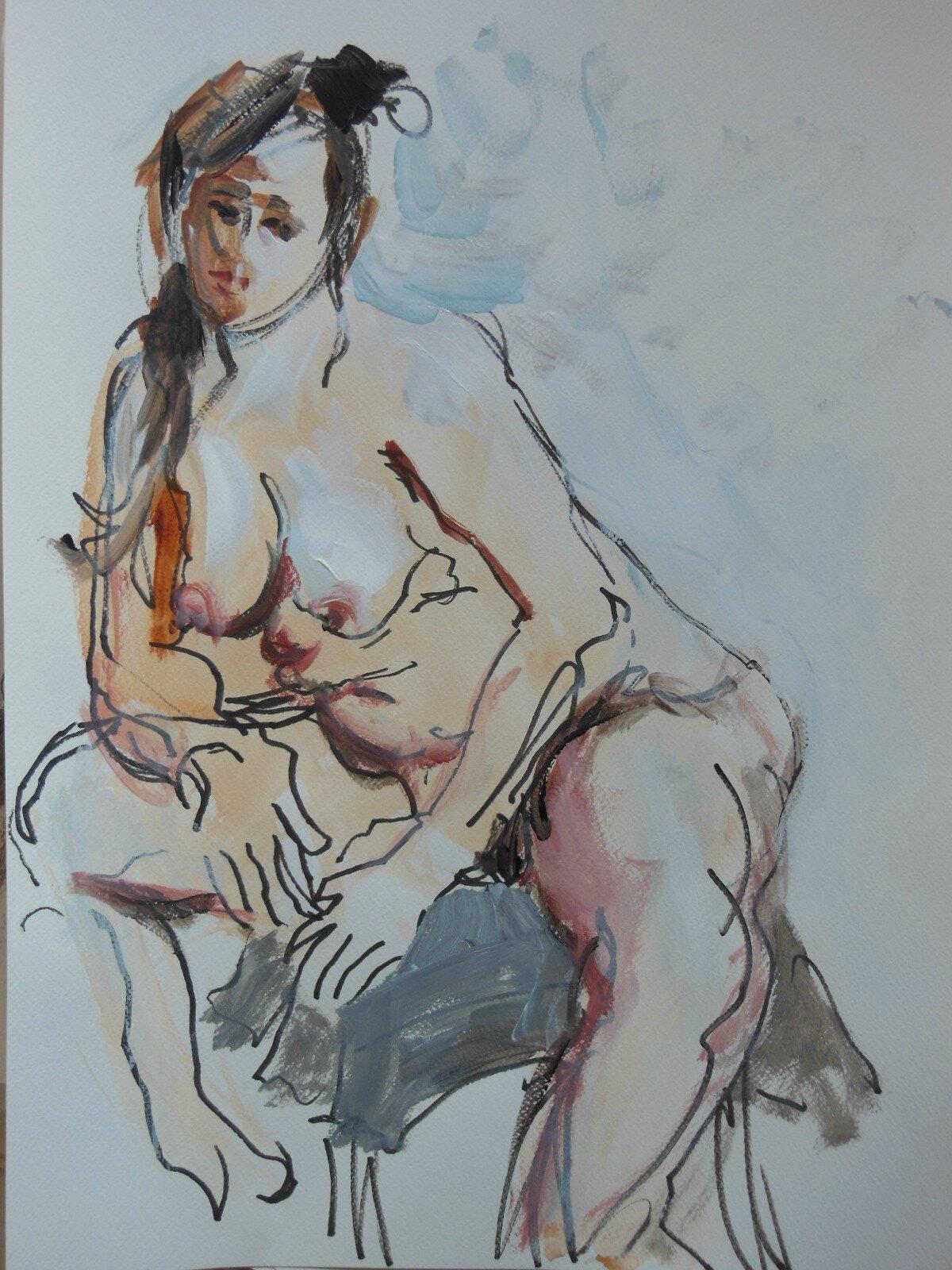 tableau dessin peinture de nus feminin