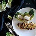 Sucrines grillées, sauce roquefort & poulet pané a la savora